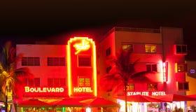 Miami Beach alla notte Fotografia Stock Libera da Diritti