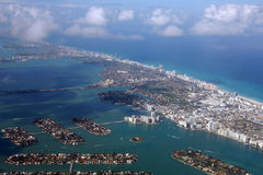 Miami Beach Area Aerial. Photo. In the foreground are the Venetian Islands, Hibiscus Island and Star Island. There is also the Venetian Causeway. Julia Tuttle Stock Photography