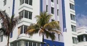 Miami Beach Art Deco Buildings With Palm Tree stock video footage