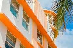 Miami Beach Art Deco. Close up view of the classic and beautiful Miami Beach art deco architecture royalty free stock photo