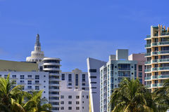 Miami Beach Art Deco Hotels Royaltyfri Fotografi