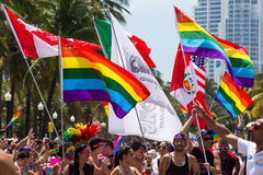 Miami Beach bög Pride Parade Flags Arkivbilder