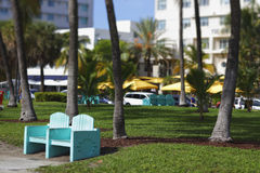 Miami Beach benches Stock Photo
