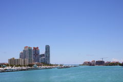 Miami beach and Biscayne Bay Royalty Free Stock Photos