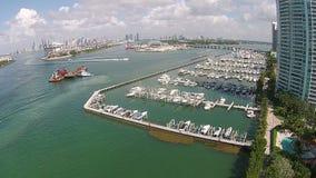 Miami Beach boat marina stock video footage