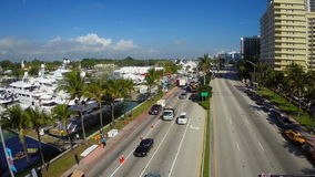 Miami Beach and the boat show aerial video Royalty Free Stock Photo