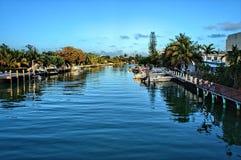 Miami Beach bostads- kanal arkivfoto