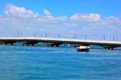 Miami Beach bridge and boats. Stock Photography