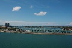 Miami Beach Causeway and Bay Royalty Free Stock Photo