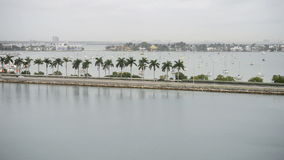 Miami Beach Causeway with Traffic. Traffic passes on the causeway in Miami stock video footage