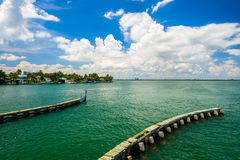 Miami Beach Cityscape. Scenic Miami Beach cityscape view of the Rivo Alto Island on the Venetian Causeway along the bay Royalty Free Stock Photography