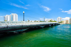 Miami Beach Cityscape. Scenic Miami Beach cityscape view of the Venetian Causeway with condos along the bay Royalty Free Stock Image