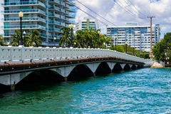 Miami Beach Cityscape. Scenic Miami Beach cityscape view of the Venetian Causeway with condos along the bay Royalty Free Stock Images