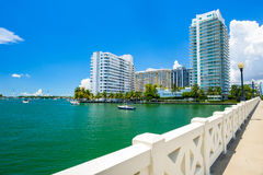 Miami Beach Cityscape. Scenic Miami Beach cityscape view of the Venetian Causeway with sailboats and condos along the bay Royalty Free Stock Photos