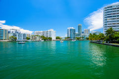 Miami Beach Cityscape. Scenic Miami Beach cityscape view of the Venetian Causeway with sailboats and condos along the bay Stock Images