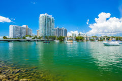 Miami Beach Cityscape. Scenic Miami Beach cityscape view of the Venetian Causeway with sailboats and condos along the bay Stock Photo