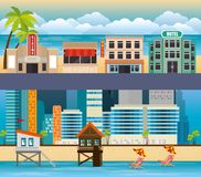 Miami beach cityscape set scenes. Vector illustration design royalty free illustration