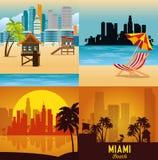 Miami beach cityscape set scenes. Vector illustration design stock illustration