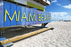 Miami Beach. Close-up of Miami Beach sign on a Lifeguard hut Stock Photography