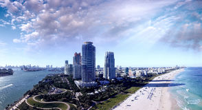 Miami Beach coastline. Aerial view as seen from South Pointe Par Stock Images