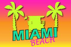Miami Beach coloré Illustration faite main de vecteur de dessin illustration libre de droits