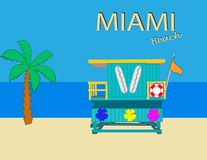 Miami Beach, Colored Lifeguards Tower on colorful background .Summer Card. vector illustration