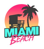 Miami Beach. Colorful symbol of Miami beach with the famous house and palm tree Stock Images