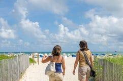 Miami Beach de goce turístico con las palmeras Imágenes de archivo libres de regalías