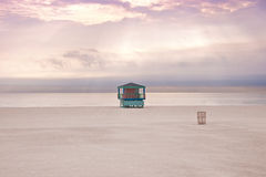 Miami beach, empty at sunset. Royalty Free Stock Photos