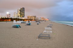 Miami Beach et horizon la nuit Photo libre de droits