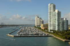 Miami Beach fartygmarina Arkivfoto