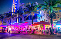 MIAMI BEACH - FEBRUARY 25, 2016: Ocean Drive in South Beach at n Royalty Free Stock Photo