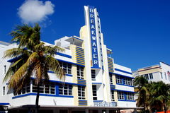 Miami Beach, FL: Art Deco Breaktwater Hotel Royalty Free Stock Photography