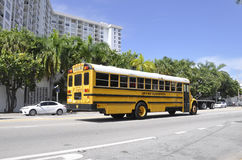 Miami Beach FL,August 09th: School Bus downtown Miami Beach in Florida Royalty Free Stock Photo
