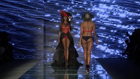 MIAMI BEACH, FL - JULY 12: A model walks the runway for Baes and Bikinis Swim during the Paraiso Fashion Fair on July 12 , 2018 stock video footage