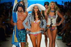 MIAMI BEACH, FL - JULY 21: A model walks the runway at the Maaji show Stock Photography