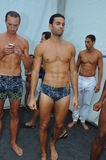 MIAMI BEACH, FL - JULY 21: Models pose backstage at the A.Z Araujo show Stock Photography