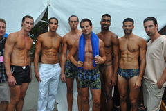 MIAMI BEACH, FL - JULY 21: Models pose backstage at the A.Z Araujo show Royalty Free Stock Photos