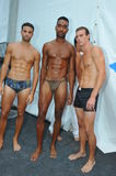 MIAMI BEACH, FL - JULY 21: Models pose backstage at the A.Z Araujo show Royalty Free Stock Photography