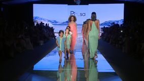 Models walk the runway finale for PitUSA Swimwear finale during the Paraiso Fashion Fair on July 12 , 2018 stock video