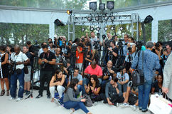 MIAMI BEACH, FL - JULY 21: Photographers platform the A.Z Araujo show Royalty Free Stock Image