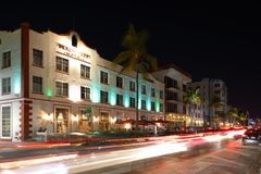 Night image Ocean Drive Beach Park Hotel Stock Images