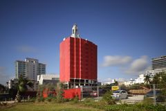 Faena Condo Towers Miami Beach covered in red. MIAMI BEACH, FL, USA - DECEMBER 5, 2017: Image of the historical Faena Condo Towers under demolition and soon Stock Photography