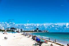 Miami Beach/FL, usa plaża od Południowego Pointe mola widok obrazy royalty free