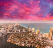 Miami Beach, Florida. Amazing sunset view from helicopter Stock Photo