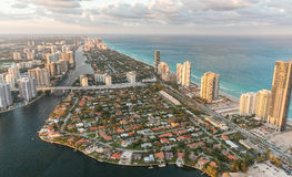 Miami Beach, Florida. Amazing sunset view from helicopter Royalty Free Stock Image