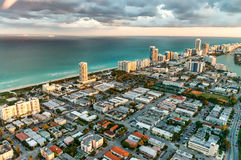 Miami Beach, Florida. Amazing sunset view from helicopter Royalty Free Stock Photography