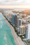 Miami Beach, Florida. Amazing sunset view from helicopter Stock Images