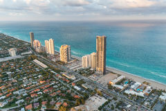 Miami Beach, Florida. Amazing sunset view from helicopter Stock Photos