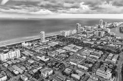 Miami Beach, Florida. Amazing sunset view from helicopter Stock Image